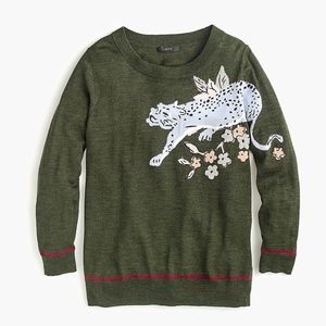 J. Crew Tippi Intarsia Cheetah Sweater Medium